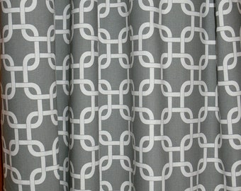 "Two Custom Drapes 50"" Wide by up to 108"" Long each -  Gray Chain Link Curtain Drapes"