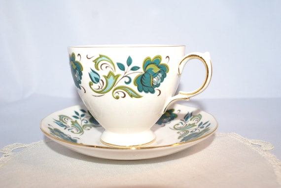 1950s Queen Anne Ridgeway Potteries Bone China Tea Cup and Saucer