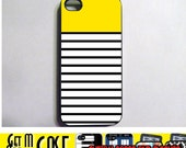 iPhone 4 Case - Yellow Block Black Stripes New Plastic Fitted Case For iPhone 4 & iPhone 4S