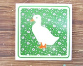 Vintage Ceramic Tile Trivet, White Duck Green Tile