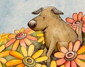 Brown dog  with flowers watercolor, pen and ink original illustration