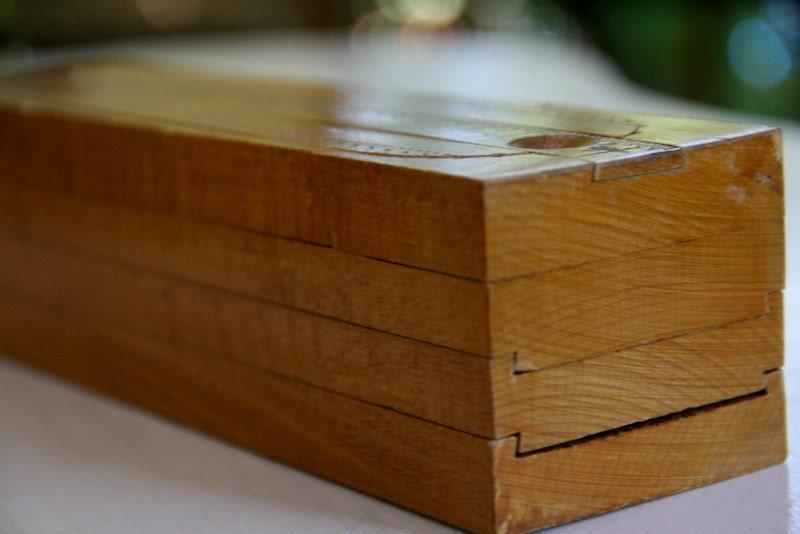 Antique Wooden Pencil Box Dovetail Sliding Compartments Ruler