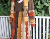 Recycled Sweater Dress Cashmere Wool Natural Autumn Fall Colors Plus Scarf Upcycled Clothing