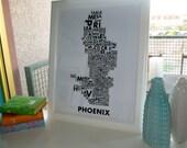 """Phoenix Neighborhoods Poster in Black- 18x24"""""""