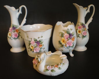 Lefton Hand Painted Porcelain Collection, Lefton Egg Vase, Floral Flower Pot, 2 Ewers Pitchers, Lefton Swan, Pink Porcelain Roses