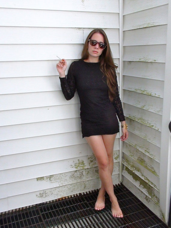 Reserved for Lucia Long Sleeve X Small Black Lace Mini Dress from 1980's