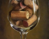 Wine, Print, from Original painting,  fineart, corks in glass on Etsy