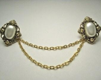 Gold Pearl Diamond Collar Tips