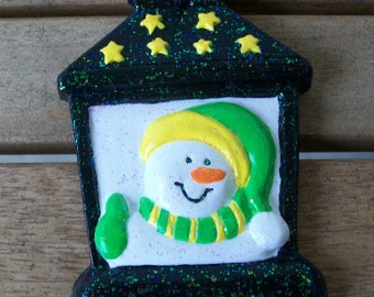 Lantern with Snowman Ornament-Hand Painted Plaster