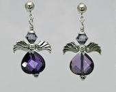 Angel Earrings - Purple Cubic Zirconia and Swarovski Crystal