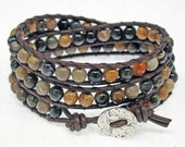 3 Time Leather Wrapped Bracelet - Brown