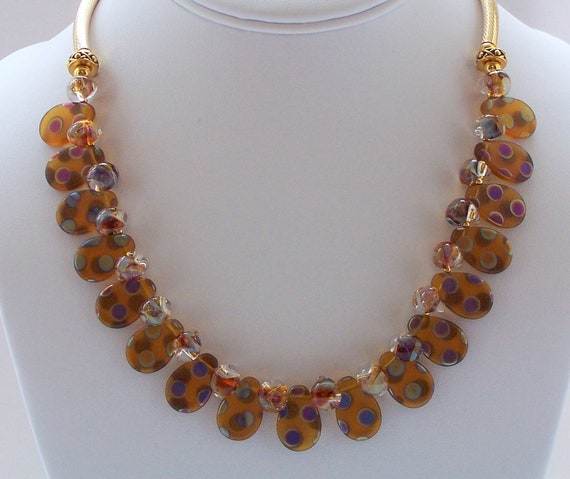 Necklace 14 kt Gold filled with Peacock glass and Borosilica beads
