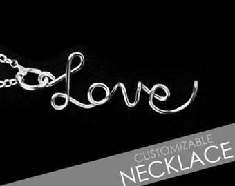 CUSTOM Personalized Wire Name / Word Drop Style Pendant Necklace 925 Sterling Silver Plated