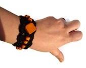 Crochet Bracelet, Geometric Bracelet, Cuff Fibre Bracelet, Wood Beads Bracelet, Black Bracelet, Orange, Gift Ideas, OOAK