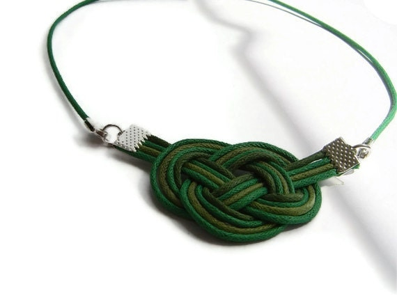 Knot necklace, cord jewellery, statement jewellery, celtic knot, sailor knot, green necklace, macrame, gift for her