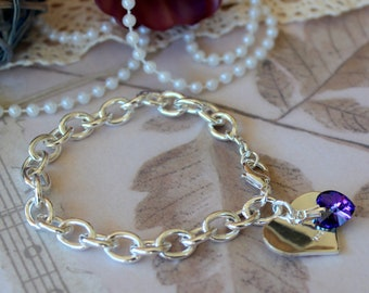 Heart Tag  Sterling Silver Bracelet with Swarovski Crystal
