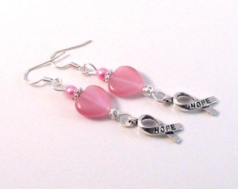"""Pink Heart, Pearl & Hope Ribbon """"Breast Cancer Awareness"""" Earrings, BCA Style 7, Pink Jewelry, Pink Earrings"""