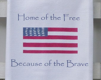 American Flag Cotton Huck Kitchen Towel