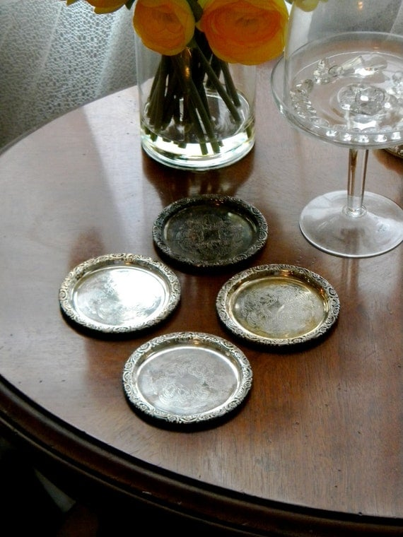Antique Set of 4 Sweden Butterpat Dishes or Coasters.