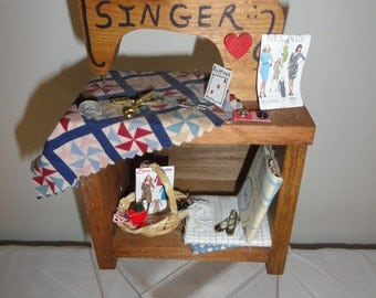 "Wooden ""SINGER"" SEWING MACHINE with sewing notions-Home Made"