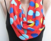 Infinity scarf, polka dots women's infinity scarf,circle scarf, red blue yellow loop scarf