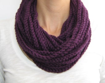 Purple crochet chain scarf,cowl,neck warmer, infinity scarf