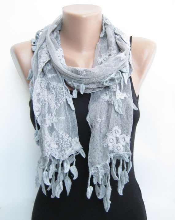 Gray tulle scarf, summer scarf, leaves lace scarf