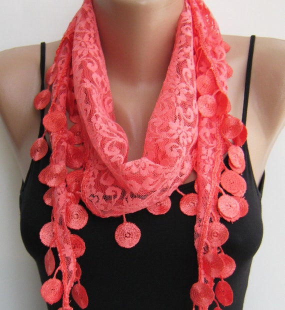 Lace scarf, coral lace scarf, summer scarf, handmade frilly scarf, lace fashion