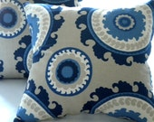 Pillow cover Navy Suzani Indigo Blue Cream Taupe 16 x 16 - MicaBlue