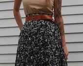 Vintage Women's Black Floral Button Down Skirt