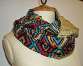 Aztec circle infinity scarf / cowl scarf / blue / red / jersey scarf