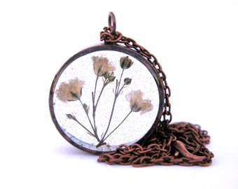 Baby's Breath Necklace - real flowers encased in resin in open back bezel, Pressed Flower Jewelry, Resin Necklace - Copper Pipe Jewelry