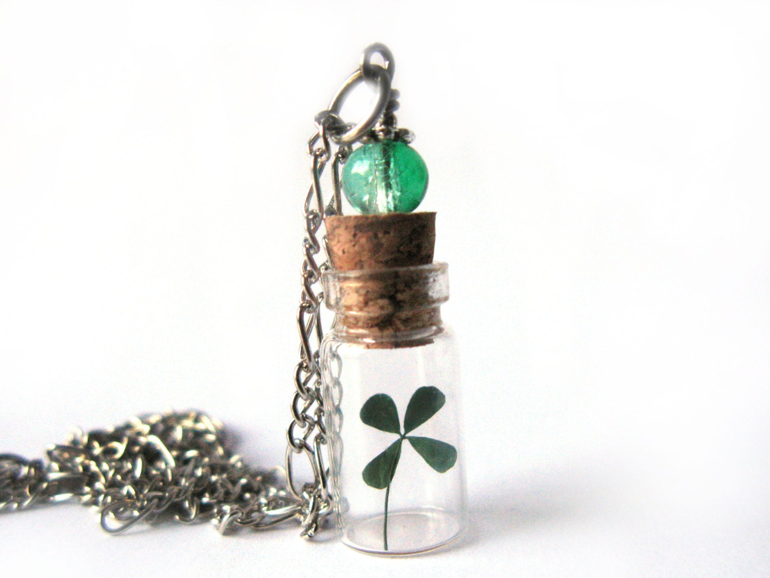 four leaf clover glass bottle necklace tiny clover in glass