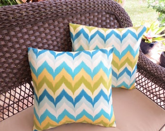 OUTDOOR Pillow Covers Pair of Turquoise Blue Lime Yellow Zig Zag Print / Blue and Lime Pillow Cover / Chevron