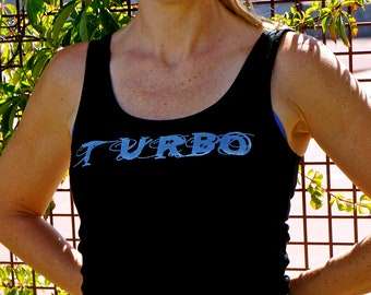 Turbo workout tank top black with white vintage looking silk screen and lace up back