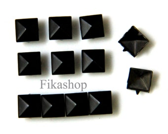 7mm 50pcs Black pyramid studs (4 legs) / HIGH Quality - Fikashop