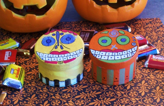 Day of the Dead primitive Halloween Trick or Treat art spirit boxes bags