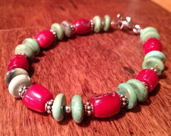Coral and Turquoise Bracelet - Barrel shaped