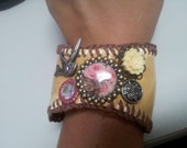 Baseball Cuff Bracelet with Feminine Flair  - Earth Tones