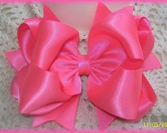 Pink Satin Hair Bow...Double Faced Satin Hair Bow... Satin Hair Bow...Girls Hair Bow..Toddler Hair Bow...Infant Hair Bow