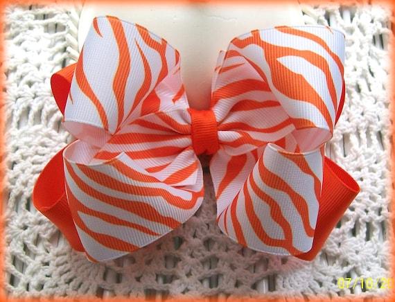 Orange Zebra Hair Bow....Zebra Hair Bow.....Girls Hair Bow....Double Boutique Bow