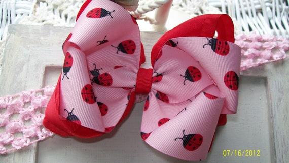 Ladybug Hair Bow with Headband.....Pink Lady Bug Bow....Girls Hair Bow....Toddler Hair Bow...Double Boutique Bow