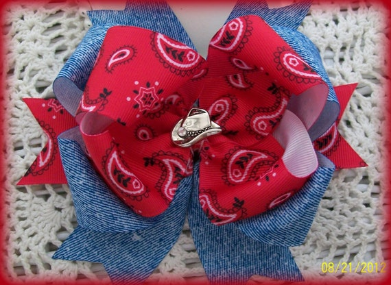 Red Bandana And Denim Hair Bow Cowgirl Hair Bow Girls