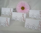 Wedding Place Card Escort Cards Table Cards, Name Card Ivory Cream or White Doily Paper Lace Bride Dress Reception Table Cards