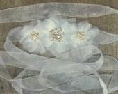 White Bridal Sash - Chiffon Flower Bridal Sash, Wedding Gown Sash, Belt, Chiffon Ribbon Sash
