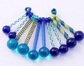 Five lampwork twistie cane glass drop pairs