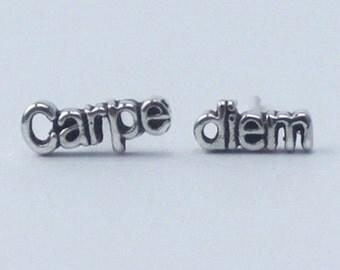 Carpe diem Earrings 'seize the day' , 925 Sterling silver, poetic, inspirational word Earrings