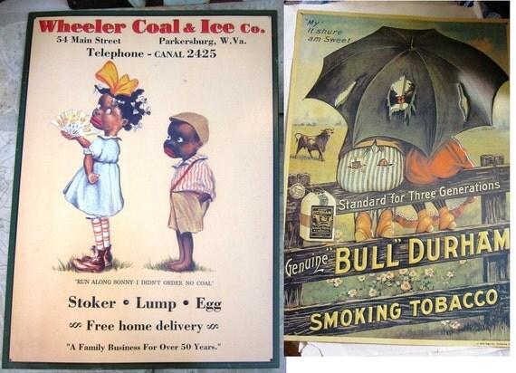 RESERVE Set of 2 Black Folk Art Advertising Tin Sign Wall Hangings