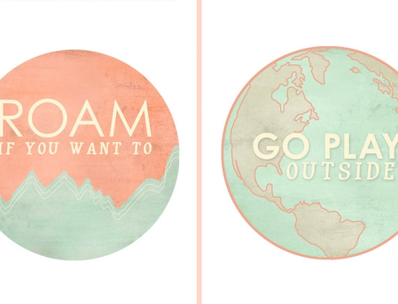 2 prints for 27, and save on shipping / Roam and Go Play Outside art print series / companion