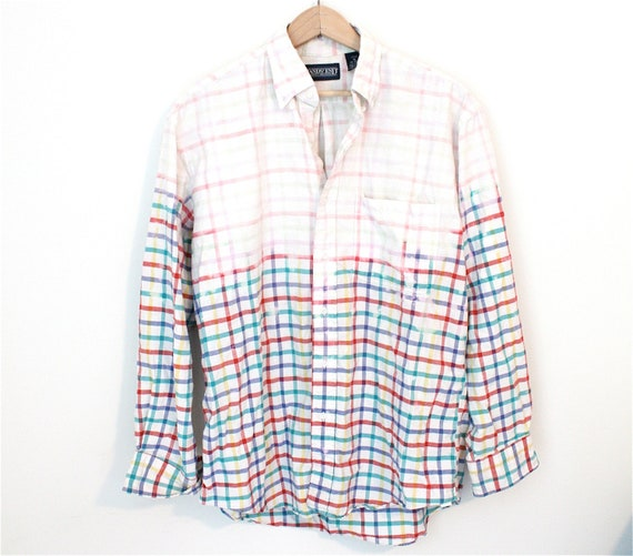 Bleached Flannel Shirt - red, green, blue, and yellow